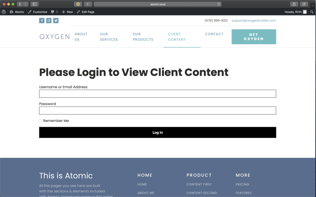 Login to client content.