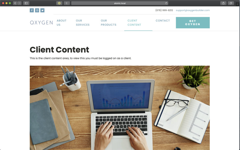 Page with client content displayed.